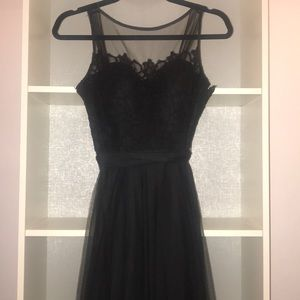 Bill Levkoff black lace and tulle gown size 2